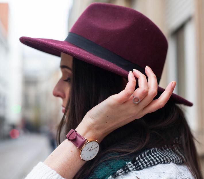 Burgundy wide brim hat, burgundy watch with rose gold clock