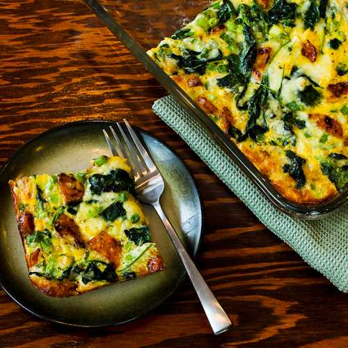 Chicken Sausage, Kale, and Mozzarella Baked with eggs.