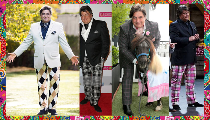 Matt Preston of Masterchef Australia, Taste and Delicious wears a variety of prints such as window pane checks, plaid and harlequin on this trousers, bottom wear and suits along with a solid, neutral blazer.