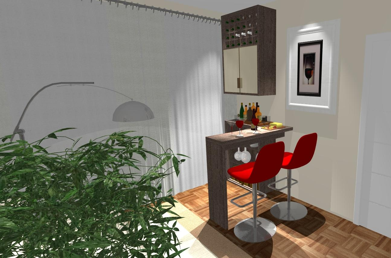 Sala Pequena Con Bar ~ idéia original partiu da cliente Soneclay, eu sugeri o desenho em