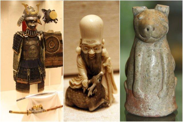 Armadura japonesa, figurita netsuke de un dios y estatuilla en el British Museum, Museo Britanico en Londres
