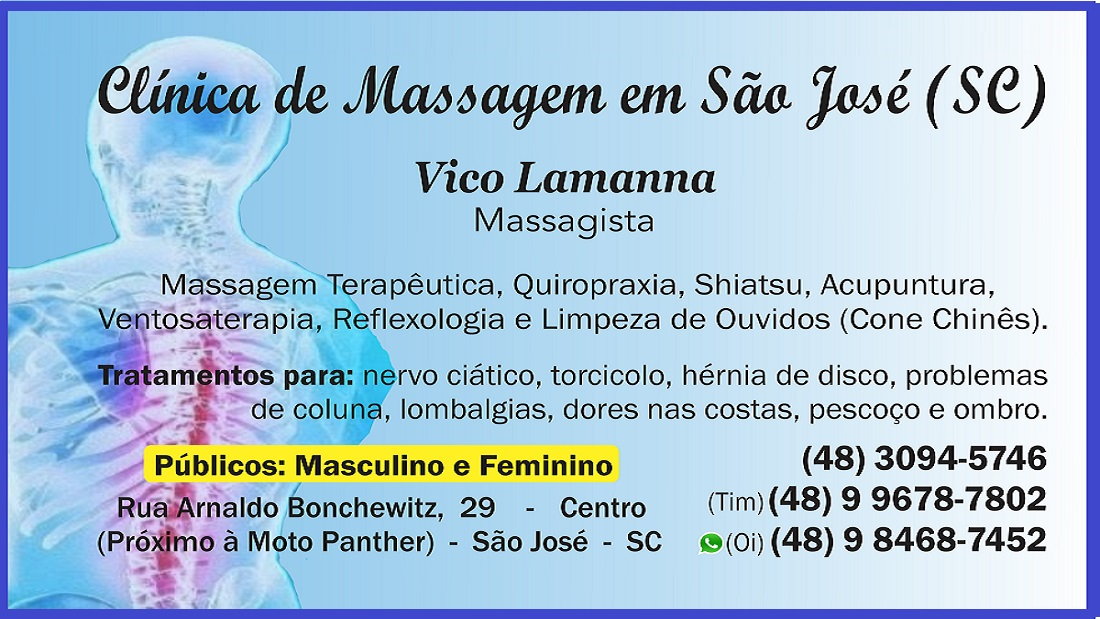 VICO MASSAGISTA QUIROPRAXIA MASSAGEM TERAPÊUTICA MASSOTERAPIA ACUPUNTURA VENTOSATERAPIA, SÃO JOSÉ SC