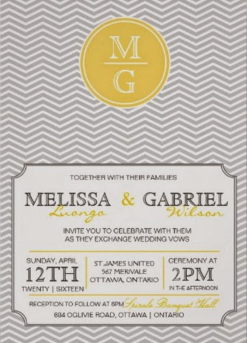Yellow and Grey Chevron Wedding Invitation