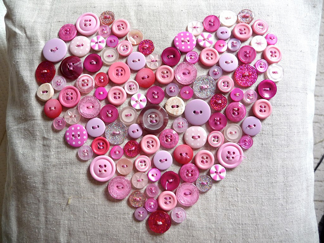 Heart Pillow from Buttons