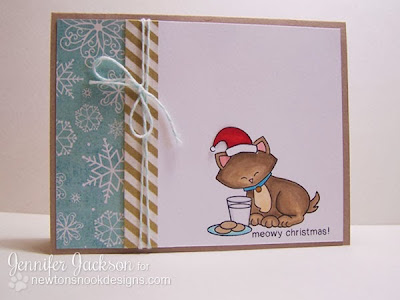 Meowy Christmas Card with Milk and Cookies by Newton's Nook Designs