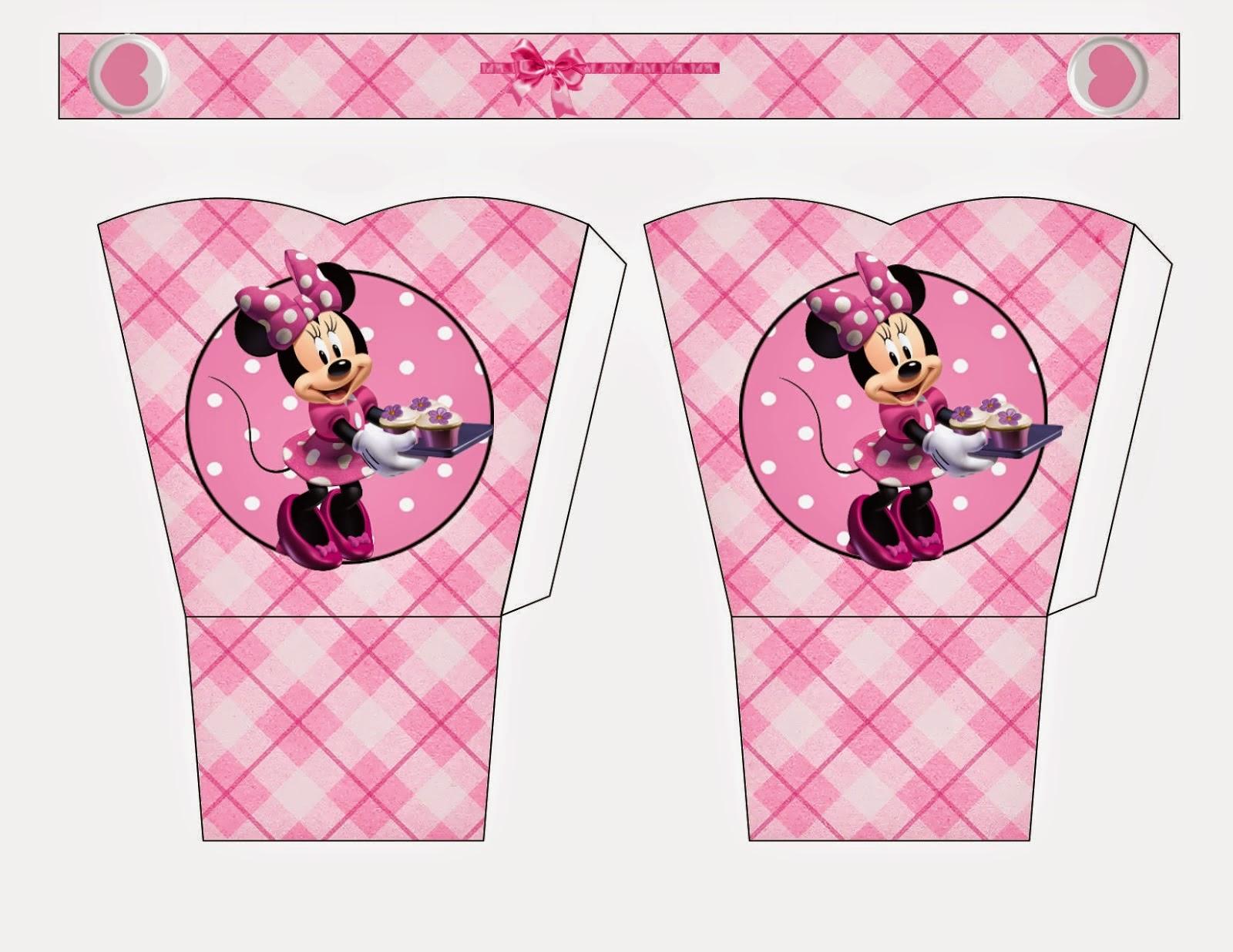 Minnie Pink Squares: Free Printable Basket.