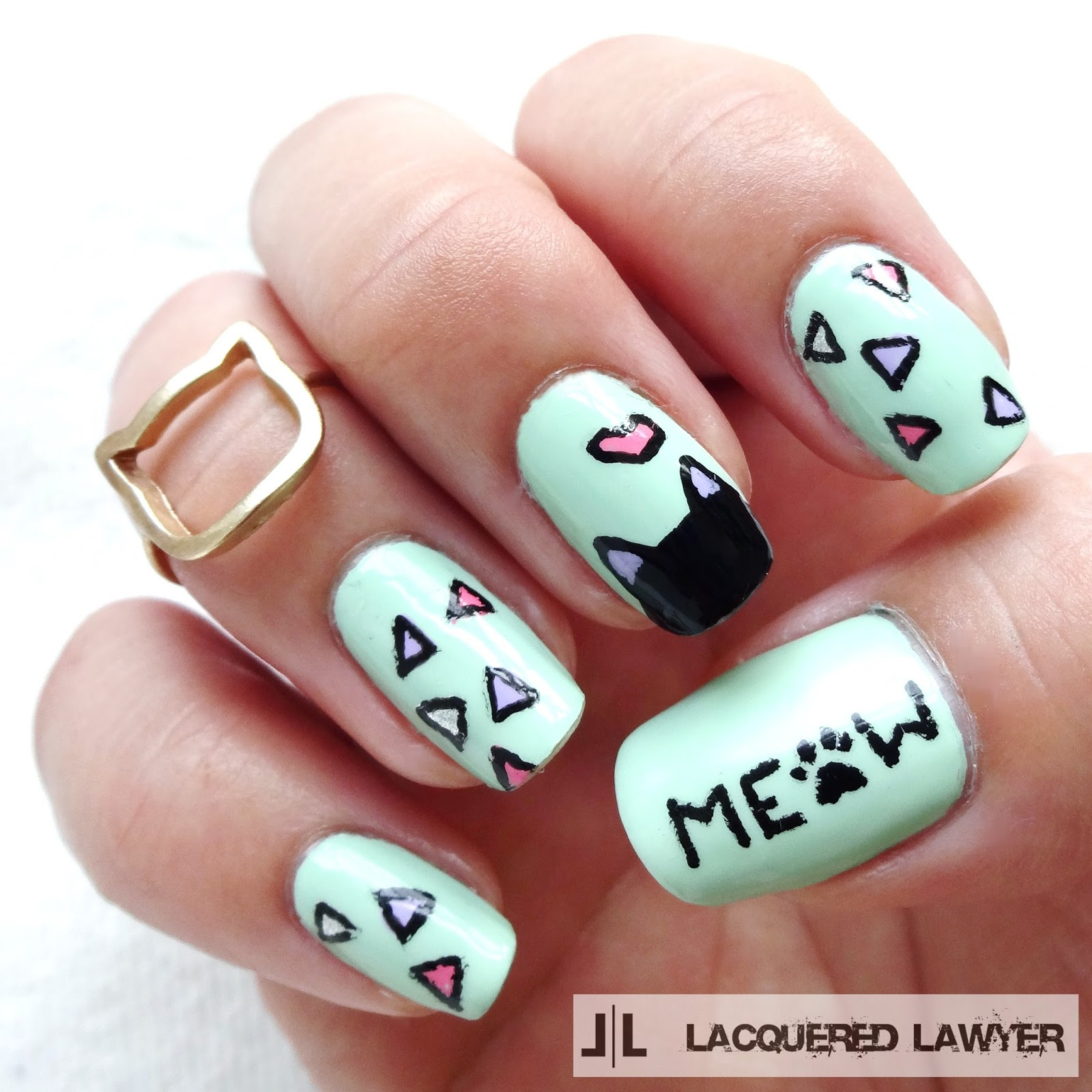 Lacquered lawyer nail art blog the cats meow the cats meow cat nail art prinsesfo Images