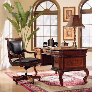 Napa Traditional L-Shape Desk & Return with Ash Burl and Rope Moulding Details