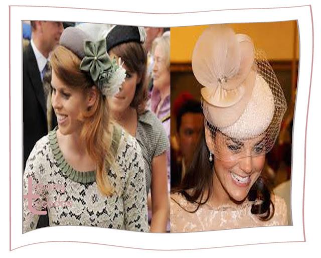 Sarah de York y Kate Middelton, princesa de Gales, con tocados tipo casquete con aplique de flor.