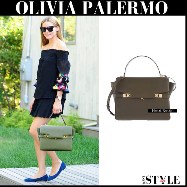 Olivia Palermo with olive green leather satchel Henri Bendel Uptown in canteen streetstyle what she wore