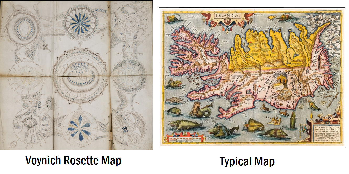 let us first examine what the voynich map does not have that others of its time very often did