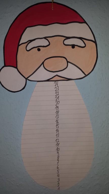 Adventskalender Weihnachtsmann mit abschneide Bart