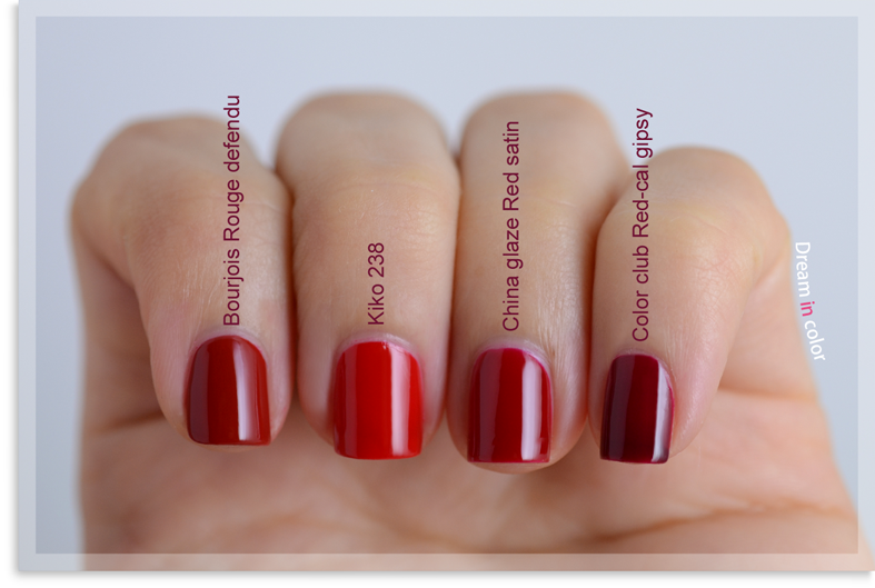 Bourjois Rouge defendu-Kiko 238-China Glaze Red satin-Color Club Red-ical Gipsy