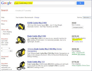 Google Shopping search results when it was a free service