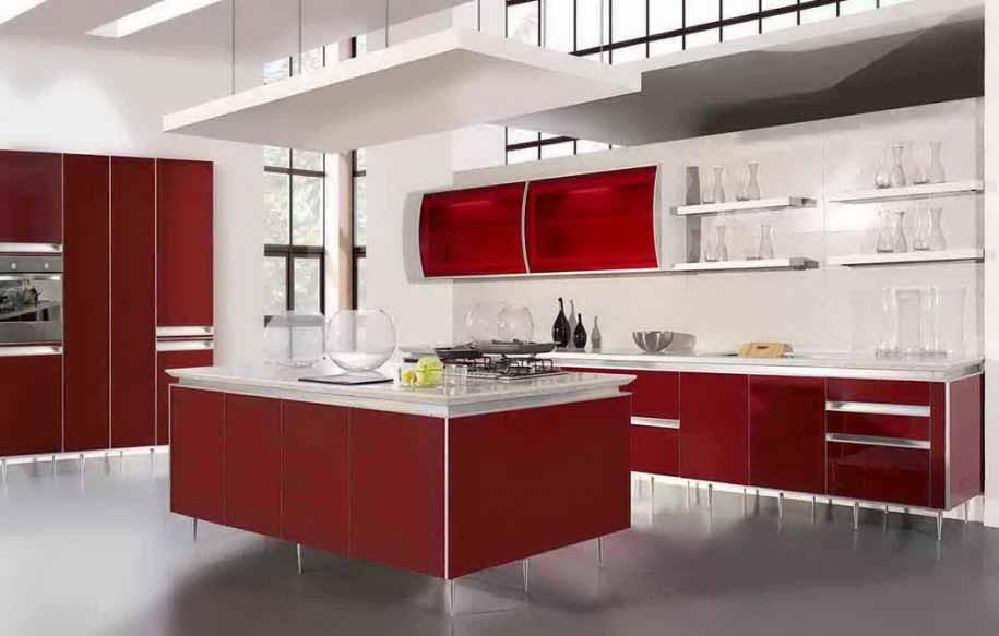 Gambar Desain Dapur Minimalis Warna Merah