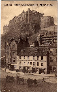 Vintage postcard of Edinburgh Castle from the Grassmarket