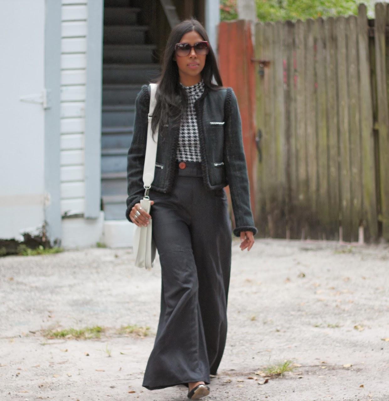 chanel hermes bag sunglasses tweed malene birger jacket fall fashion white bag houndstooth