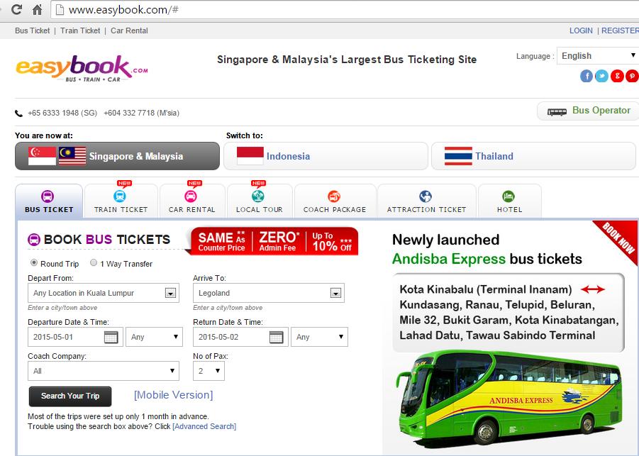 Easy com online booking bas keretapi dan kereta yang memang paling senang