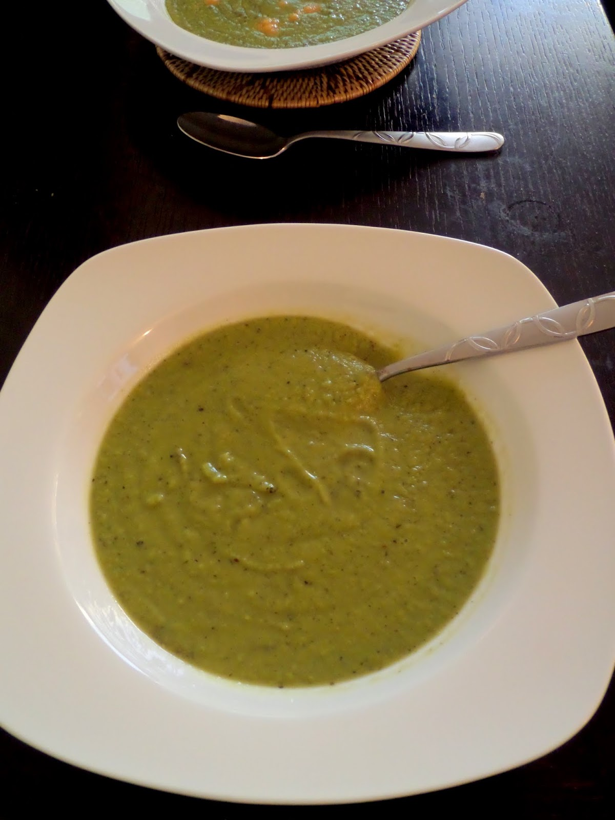 Green Pea Soup:  Healthy and easy, frozen, green peas pureed in a flavorful broth for a creamy and delicious, vibrant green, soup.