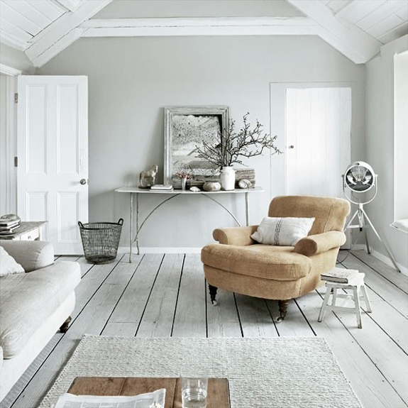 Modern cottage by the sea b a s blog for Hardwood floors with gray walls