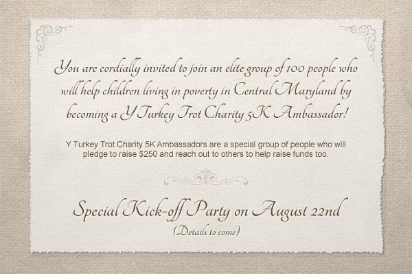 Y Turkey Trot Charity 5K Ambassador Invite