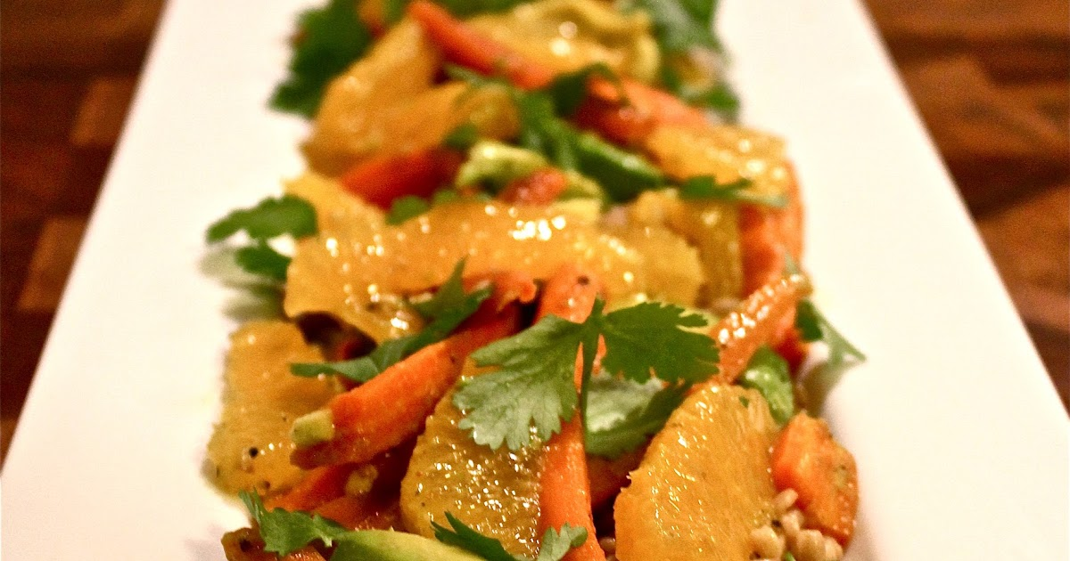 Detox Carrot, Orange, Avocado, Cilantro Salad with Whole Wheat Cous ...