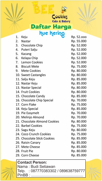 Bakery daftar harga kue kering click for details snack and tart daftar