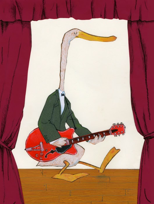 Chuck duck Berry playing his guitar illustration by Robert Wagt