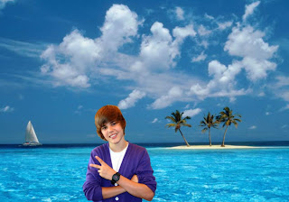 Justin Bieber photos salutes the fans free wallpapers in Blue Island background