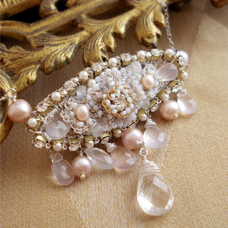 Silver Pink Bridal Bib Necklace with Lace