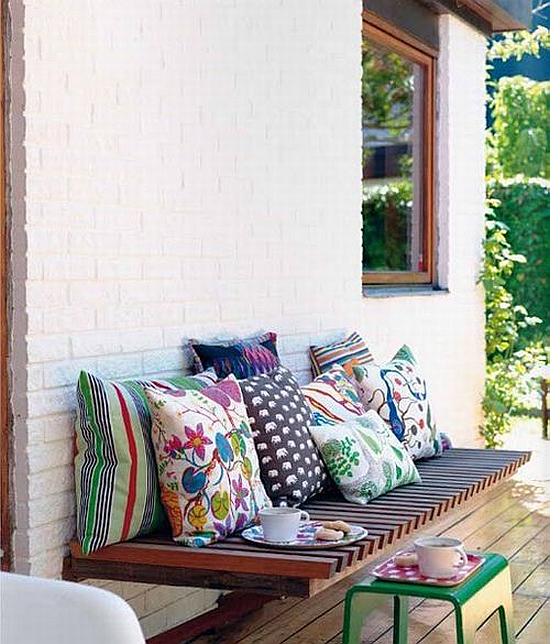 colorful mixed patterns cushions
