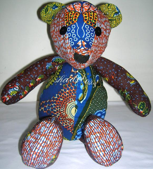 African print teddy bears