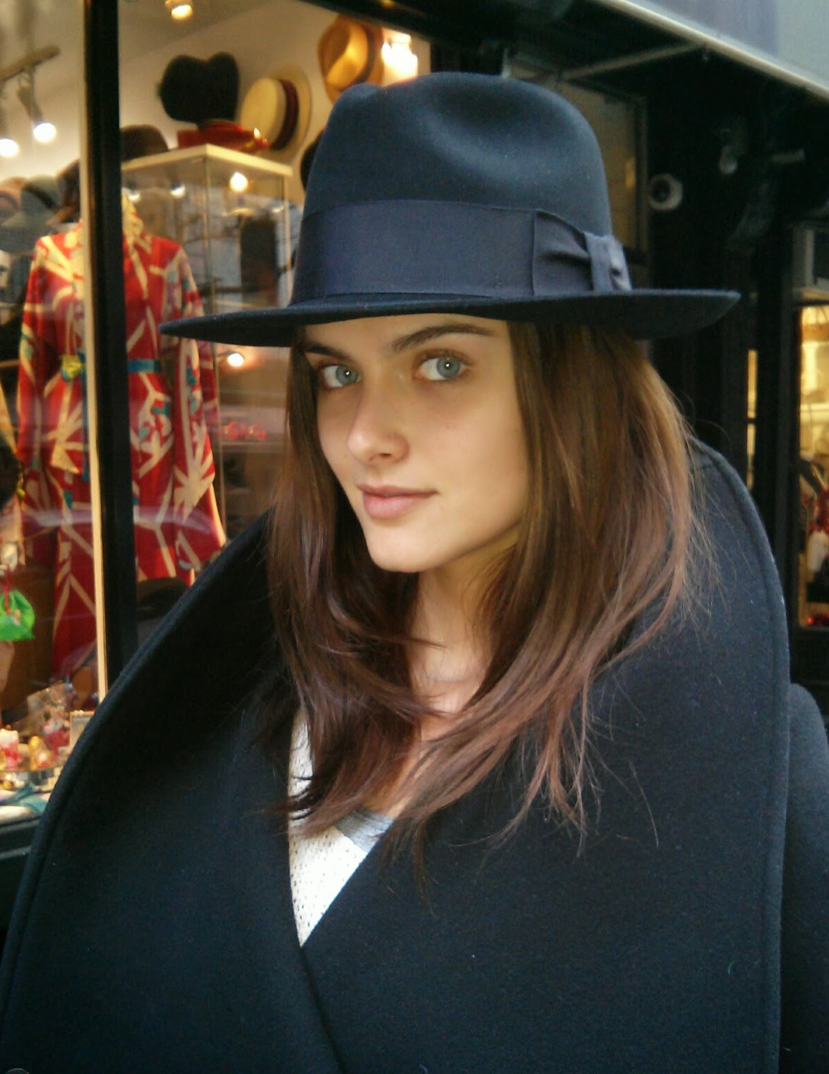 Zuzana at The Hat House NY wearing custom fedora