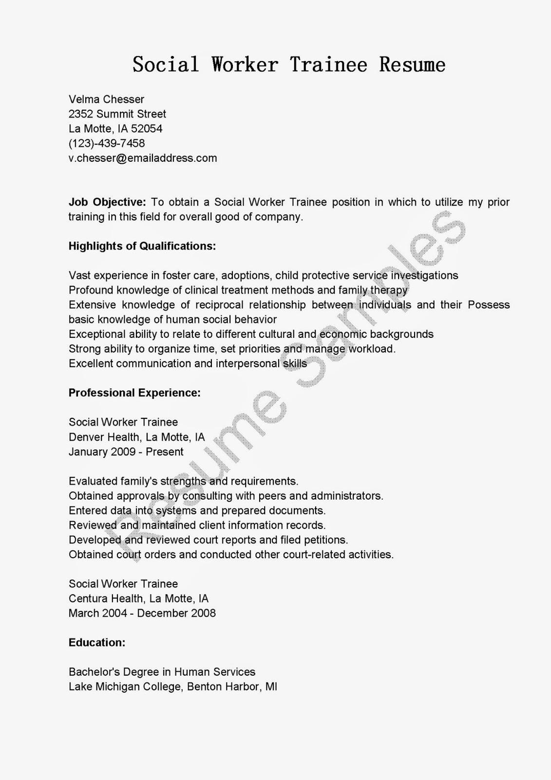 Resume Samples Social Worker Trainee Resume Sample