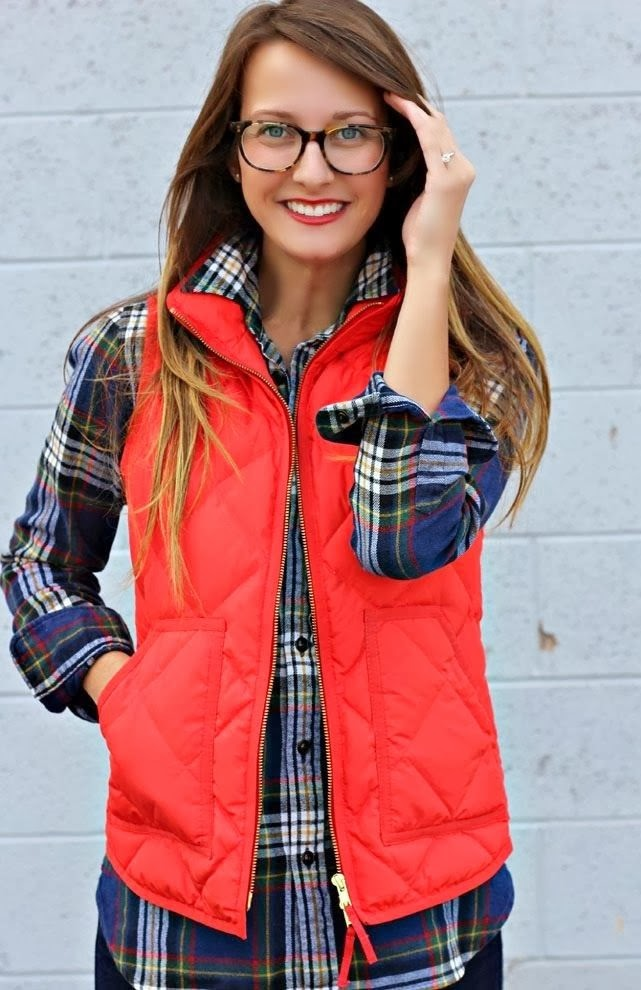 Cute fashion for fall, flannel and quilted vest