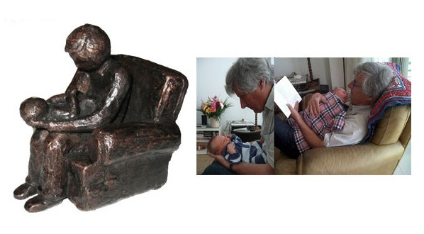 Bronze sculpture grandfather