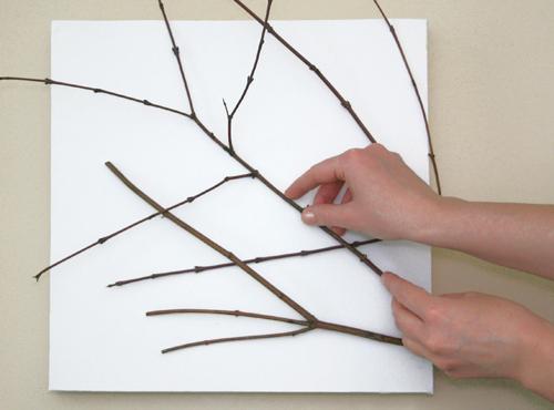 Diy un cuadro con un lienzo y unas ramas for Un mural facil de hacer