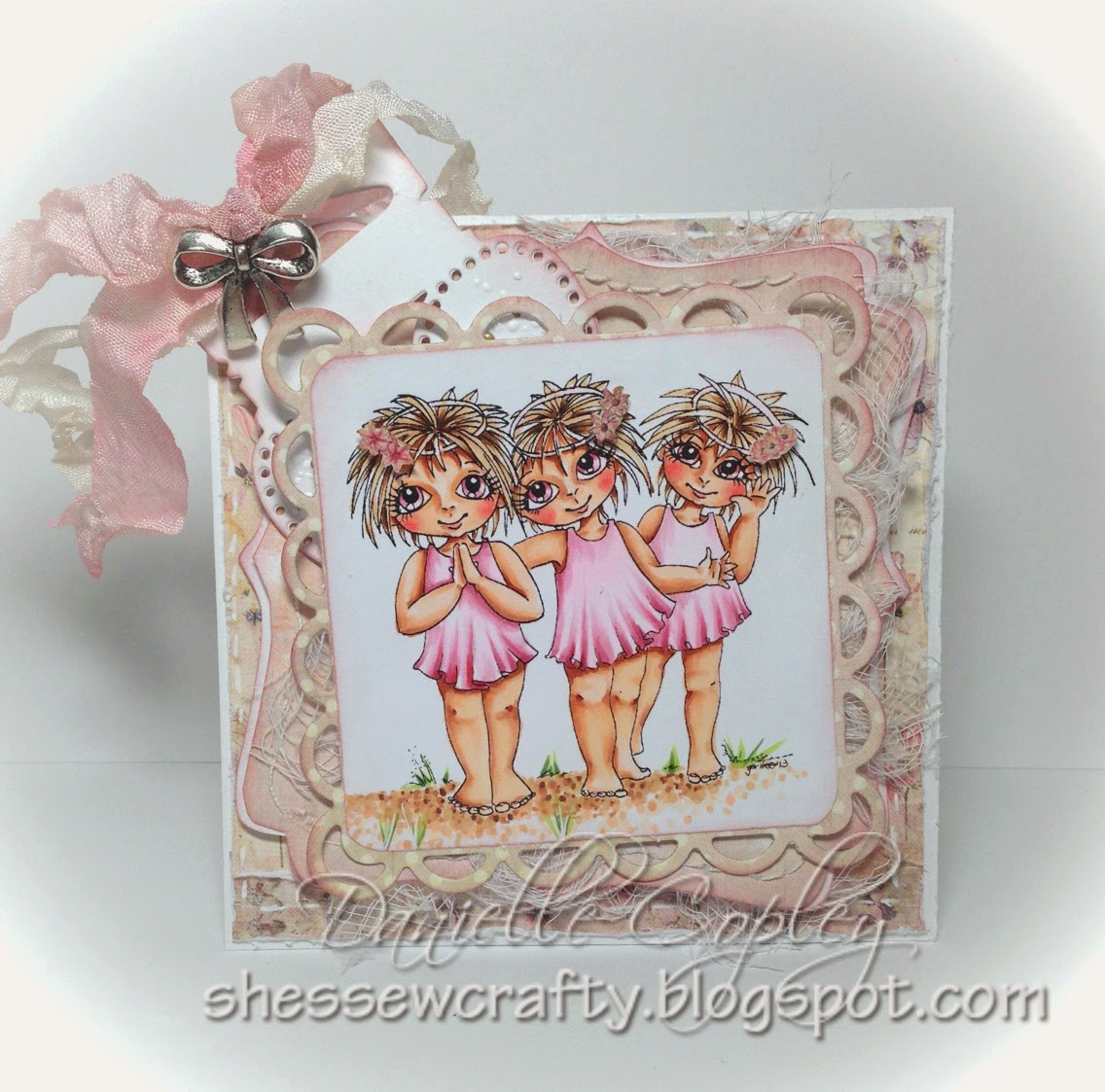 Digi Stamps 4 Joy Angels 3 R We pink card with Prima Princess paper and Magnolia Tag Die from Scrapbook Maven
