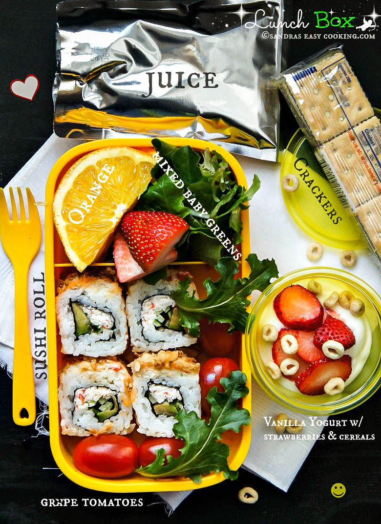 #Lunch Box: #Sushi Roll with Fruits and Vegetables #recipes