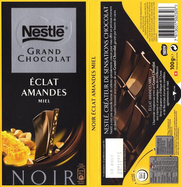 tablette de chocolat noir gourmand nestlé grand chocolat eclat amandes miel