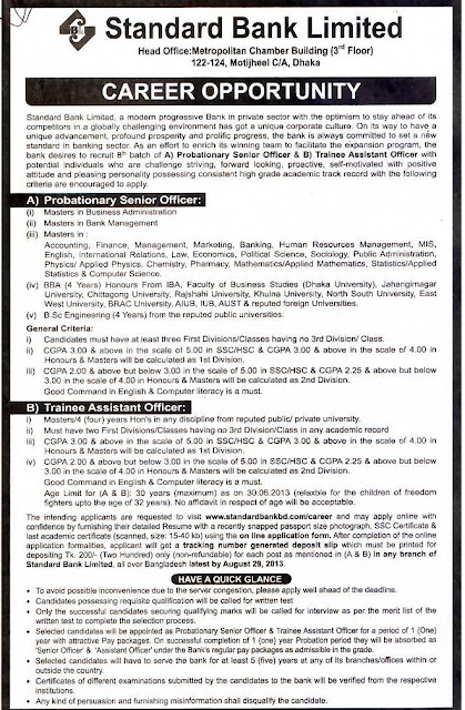 Standard Bank Ltd Probationary Senior Officer Recruitment 2013 Details