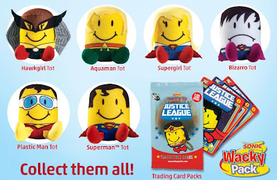 DC Comics x Sonic Justice League Tots Plush Figures - Hawkgirl, Aquaman, Supergirl, Bizarro, Plastic Man & Superman