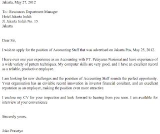 Contoh Surat Lamaran Kerja Bahasa Inggris - Job Application Letter