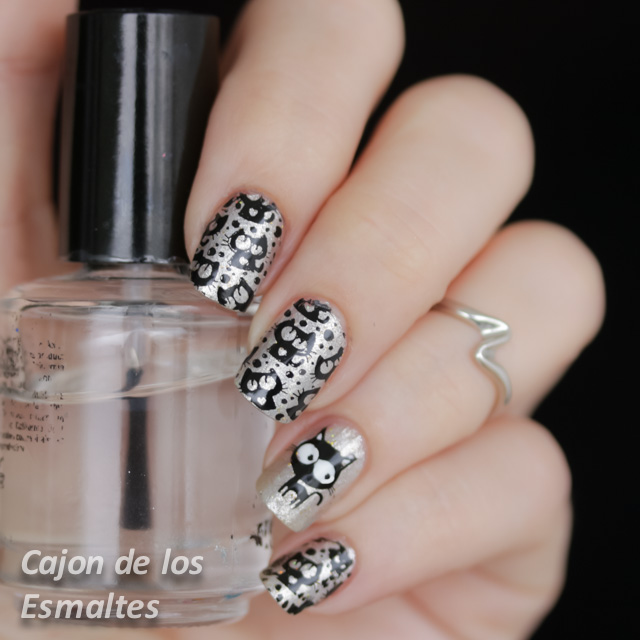 uñas decoradas con gatitos - Estampado placa BP59