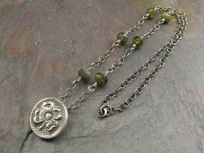 PMC fine silver shamrock pendant necklace