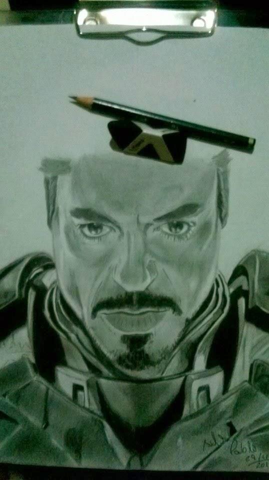 Iron Man (desenho feito a lápis 6B)