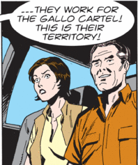 driver says the masked gunmen work for a cartel; Katherine is horrified; Alan is weirdly elated