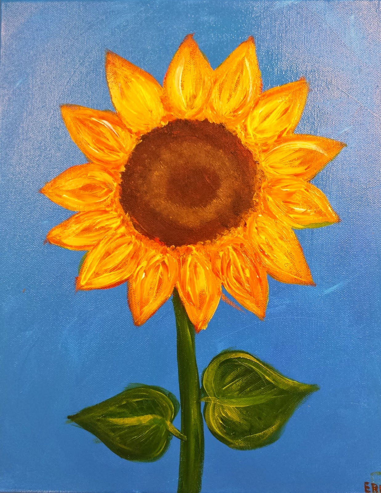 Angela anderson art blog sunflower paintings kids art for Simple watercolor paintings for kids