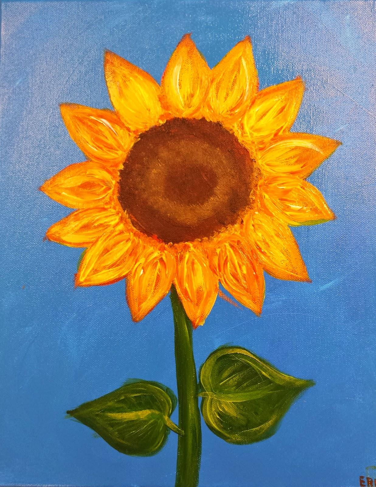 Angela anderson art blog sunflower paintings kids art for Easy paintings for children