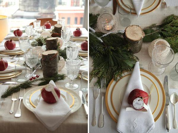 decorar con granadas naturales navidad cenas almuerzos